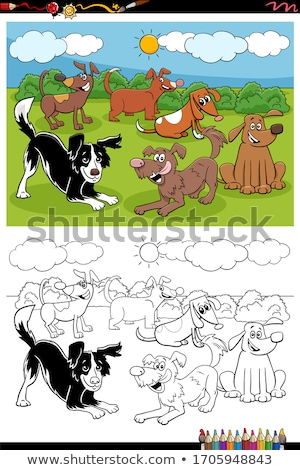 Stockfoto: Dogs In The Park Group Coloring Book