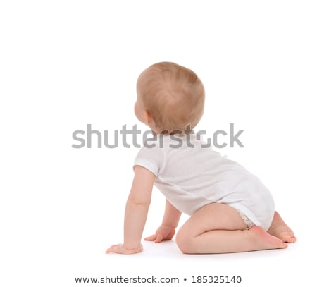Infant child baby toddler happy looking at the corner isolated on a white background Stock photo © Lopolo