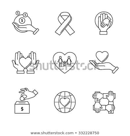Stock photo: Volunteers Support Vector Thin Line Icons Set