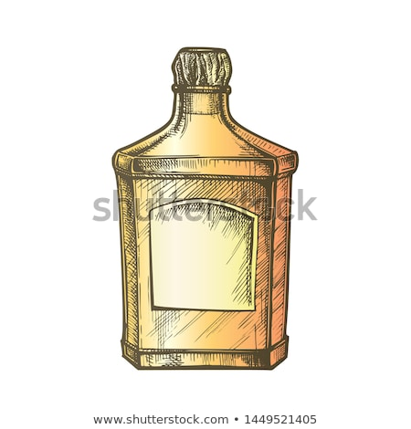 color square classic tequila bottle with cork cap vector stock photo © pikepicture