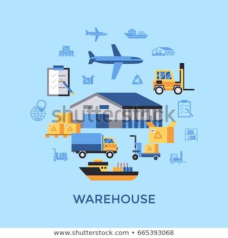 Stock fotó: Digitális · vektor · citromsárga · kék · raktár · ikonok