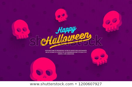 Happy Halloween Neon Landing Page Stock photo © Anna_leni