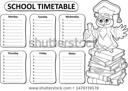 Black and white school timetable topic 4 Stock photo © clairev
