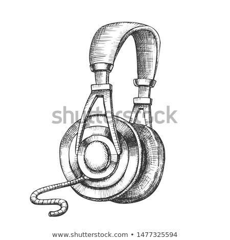 Stockfoto: Listening Audio Device Cable Headphones Ink Vector