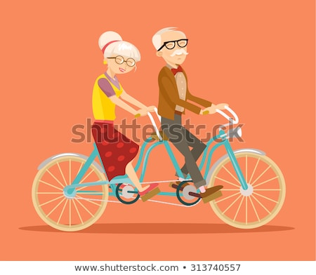 grandparents on bicycle riding senior vector stock photo © robuart