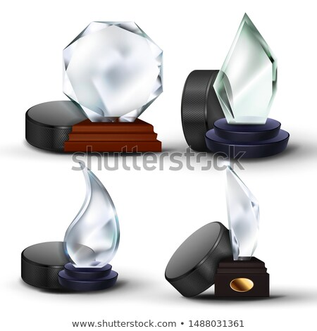 Ice Hockey Game Award Set Vector. Puck, Glass Trophy. Modern Tournament. Design For Promotion. Certi Stock photo © pikepicture