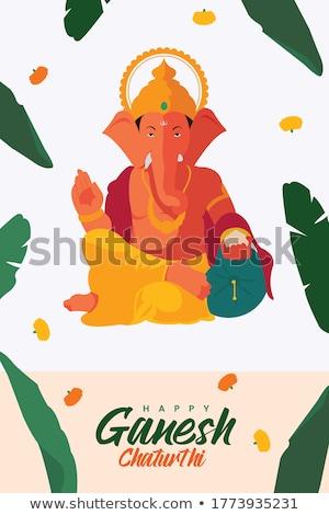 lord ganesha on banana leaves background Stock photo © SArts