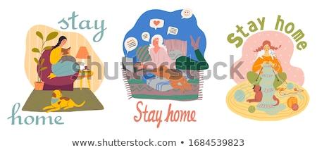 Girl House Sitting Dog Illustration Stock photo © lenm