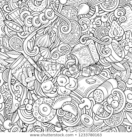 Stock photo: Cartoon Cute Doodles Hand Drawn Russian Food Seamless Pattern