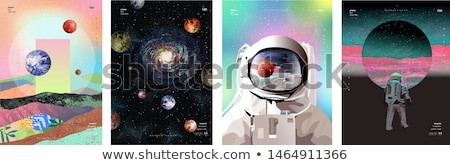 frame design with planets in galaxy stock photo © bluering