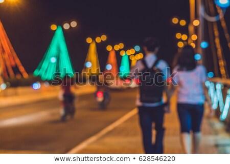 Stock fotó: Elfoglalt · forgalom · híd · éjszaka · izzó · elmosódott