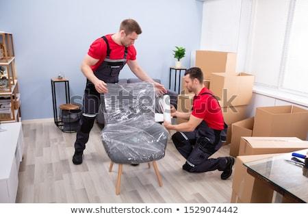 iki · erkek · mobilya · genç · oturma · odası - stok fotoğraf © andreypopov