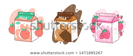 Cute strawberry milk box cartoon hand drawn style stock photo © amaomam