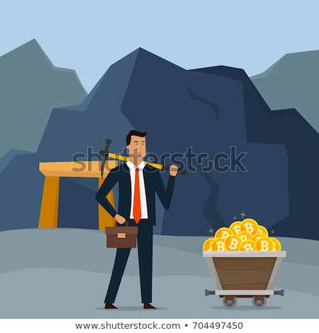 Business concept illustration. Businessman mining bitcoins and earning cryptocurrency. Trolley with  Stock photo © benzoix