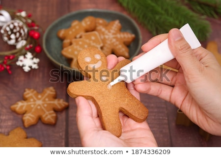 Assortment of fresh gingerbread Christmas cookies in various shapes Stock photo © dash