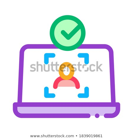 Laptop Person Identity Icon Vector Outline Illustration Stock photo © pikepicture