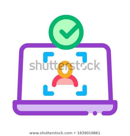 Stock foto: Laptop · Person · Identität · Symbol · Vektor · Gliederung