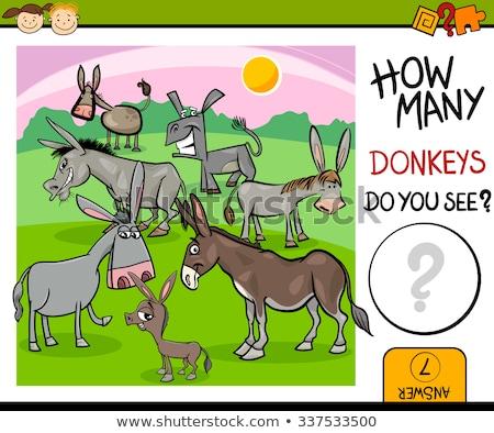 how many farm animals educational task for children Stock photo © izakowski