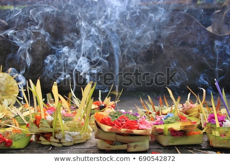 Daily offerings - canang sari is very important in Bali, Indonesia Stock photo © galitskaya