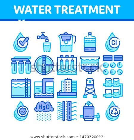 Wasser Behandlung filtern Vektor Zeichen dünne Stock foto © pikepicture