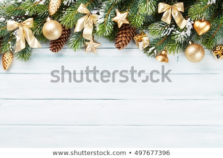 Christmas holiday background, festive baubles and yellow vintage Stock photo © Anneleven