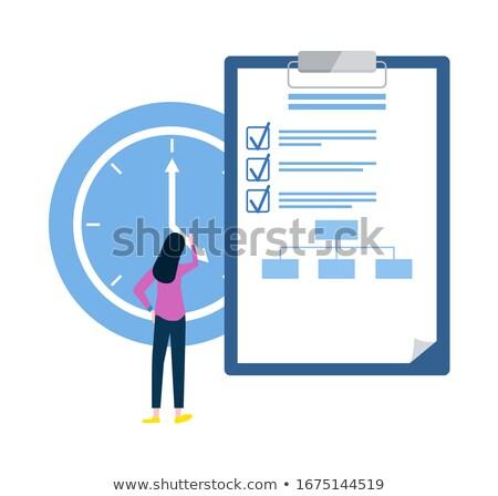 Lista cosas mujer reloj fecha tope plazos Foto stock © robuart