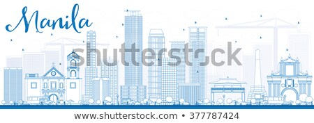 Manila linha do horizonte azul edifícios Foto stock © ShustrikS