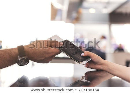 Senior mulher passaporte avião bilhete turismo Foto stock © dolgachov