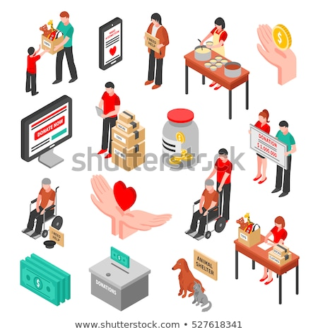 Volunteers Support Love isometric icon vector illustration Stock photo © pikepicture