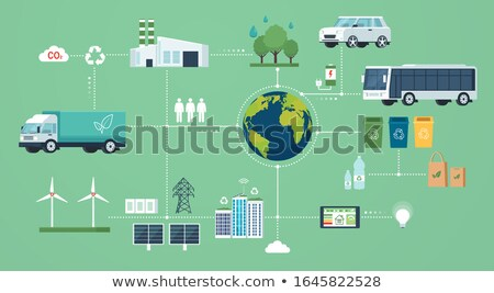 Ecological ecosystem and pollution. Innovative green technologies, green ecology smart systems Stock photo © robuart