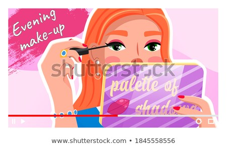 Beauty video blogger. Beautiful young woman creating, posting videos about style, cosmetics Stock photo © robuart