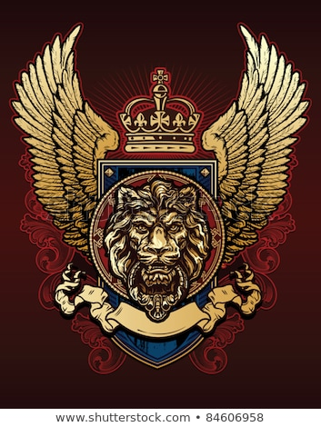 blue shiny coat of arms with wings and banner Stock photo © adrian_n
