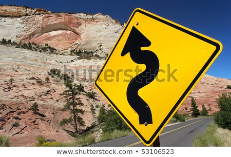 Foto stock: Winding Road Traffic Sign In Zion National Park Usa