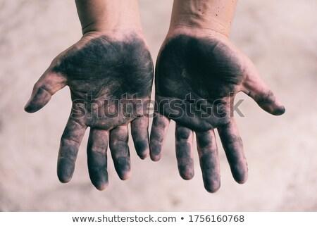 ストックフォト: ピース · 石炭 · 汚い · 手のひら · 孤立した · 白