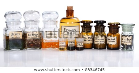 Stock photo: various pharmacy bottles of homeopathic medicine