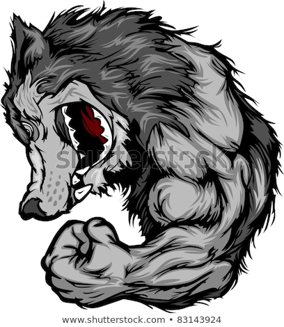 Wolf Mascot Flexing Arm Vector Cartoon Stock photo © chromaco