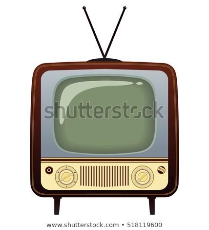 Tv készülék rajz rajzolt kréta iskolatábla űr Stock fotó © bbbar