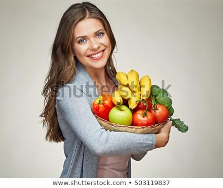 портрет · женщину · фрукты · корзины · кухне - Сток-фото © photography33