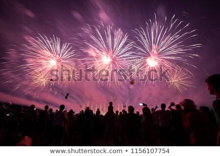 Foule silhouette pyrotechnie montrent longtemps obturateur Photo stock © smithore