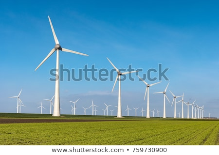 ストックフォト: 風車 · 風景 · フィールド · 緑 · ファーム · 産業