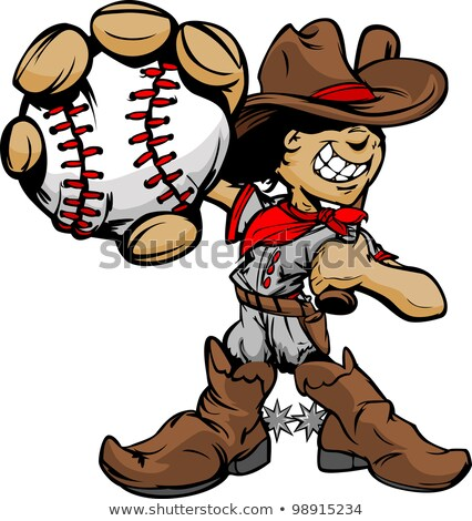 cartoon cowboy baseball face holding baseball bat stock photo © chromaco