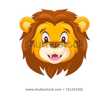 lion · tête · mascotte · dessinée · illustration · image · école - photo stock © chromaco