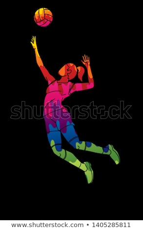 Homme · volleyball · joueur · cartoon · sport · fille - photo stock © chromaco