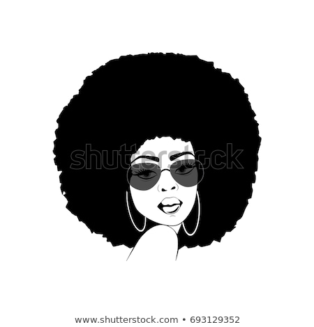 Stock fotó: Funky Lady With Afro Hairstyle