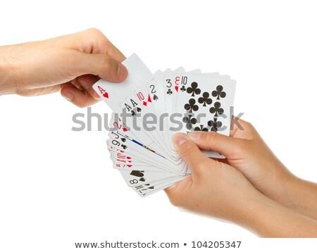 bela · mulher · pôquer · cartão · branco · mão - foto stock © Rob_Stark