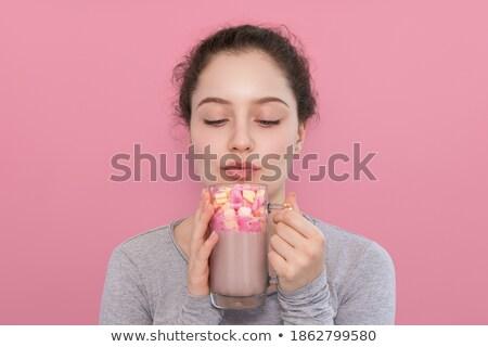 Kız içecekler kış elbise kahve kadın Stok fotoğraf © MilosBekic