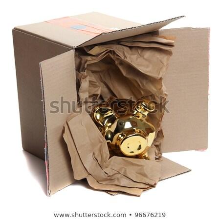 Golden Piggybank In Cardboard Box With Brown Paper Stock fotó © pterwort