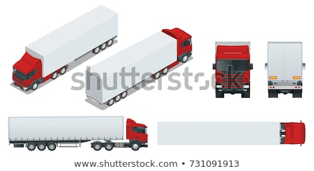 Stock photo: Vector isometric transport. Trucks with semi-trailers