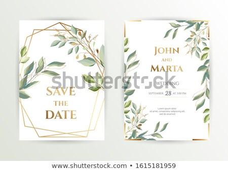 Foto stock: Establecer · banners · hojas · verdes · flores · negocios · flor