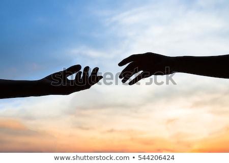 hombre · manos · cielo · azul · cielo · familia · fondo - foto stock © Paha_L